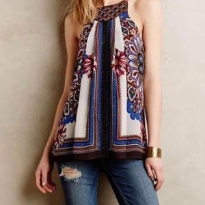 Anthro One Sept Nala beaded scarf swing tank, M